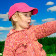 Girl in red cap — Stock Photo