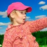Girl in red cap — Stock Photo