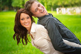 Enamoured couple is played — Stock Photo