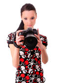 Girl with SLR — Stock Photo