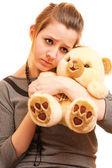 Smutná dívka s Medvídek — Stock fotografie