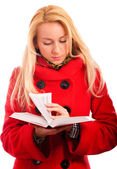 Blonde reads book — Stock Photo