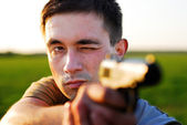 The marksman from a pistol — Stock Photo