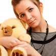 Girl with teddy bear - 图库照片