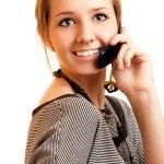 Girl speaks on cellular telephone — Stock Photo