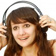 Portrait of girl in ear-phones - 图库照片