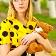 Portrait of girl with teddy bear — Stock Photo