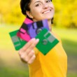 Girl with diskettes — Stock Photo #2588201