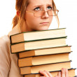 Portrait of schoolgirl with books — Stock Photo