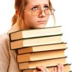 書籍と女子高生の肖像画 — ストック写真
