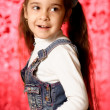 Girl in jeans sundress - Foto Stock