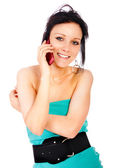Portrait of girl with cellular telephone — Stock Photo