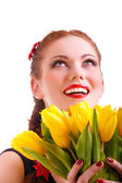 Girl with yellow florets — Stock Photo