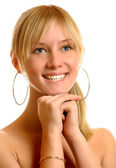 Blonde laughs. — Stock Photo
