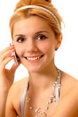 Blonde with cellular phone — Stock Photo