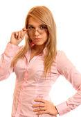 Porträtt av flicka i glasögon — Stockfoto