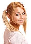 精细金发的肖像 — 图库照片