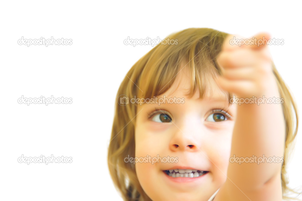 The girl shows a finger on something which are behind a shot. — Stock Photo #2588041