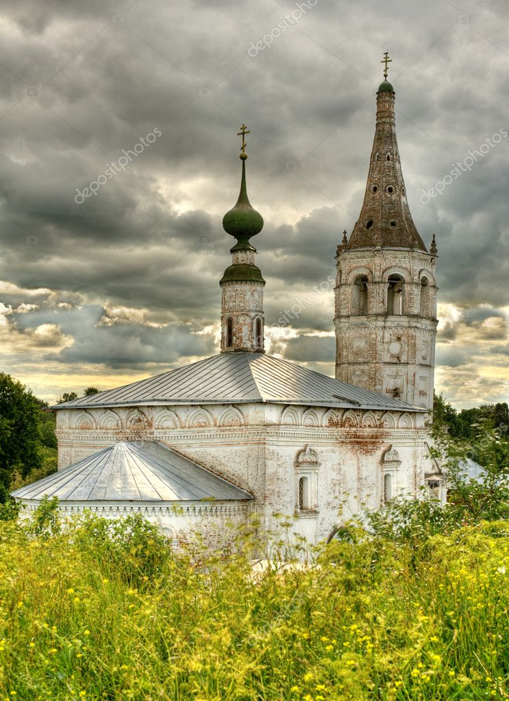 Ancient orthodox temple surrounded with beautiful flat nature. — Stock Photo #2588476