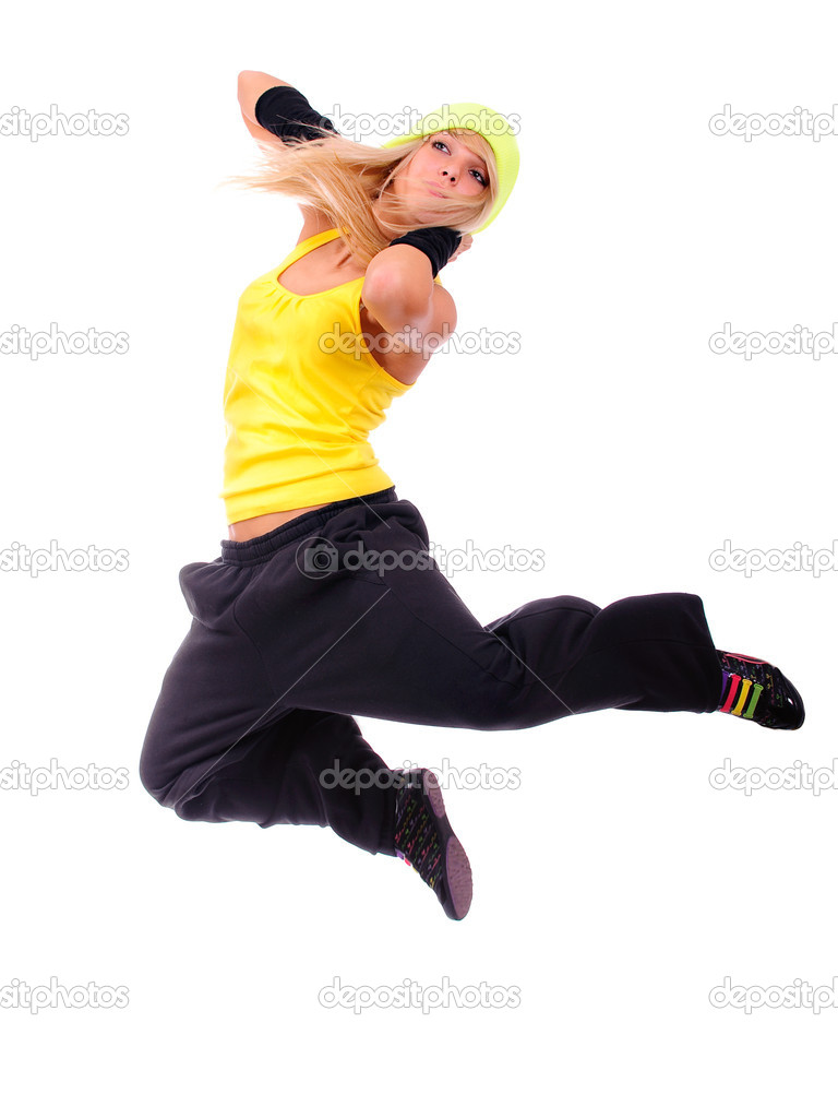Portrait of jumping dancer, it is isolated on white background. — Stock Photo #2588543