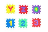 Y, z, 0,1, 2, 3 — Stock Photo