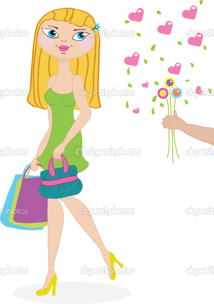 Beautiful shopping girl and her admirer with flowers. Vector — Stock Vector #1641579