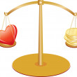 Gold scales with heart and money — Stock Vector