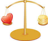 Gold scales with heart and money — Stockvector