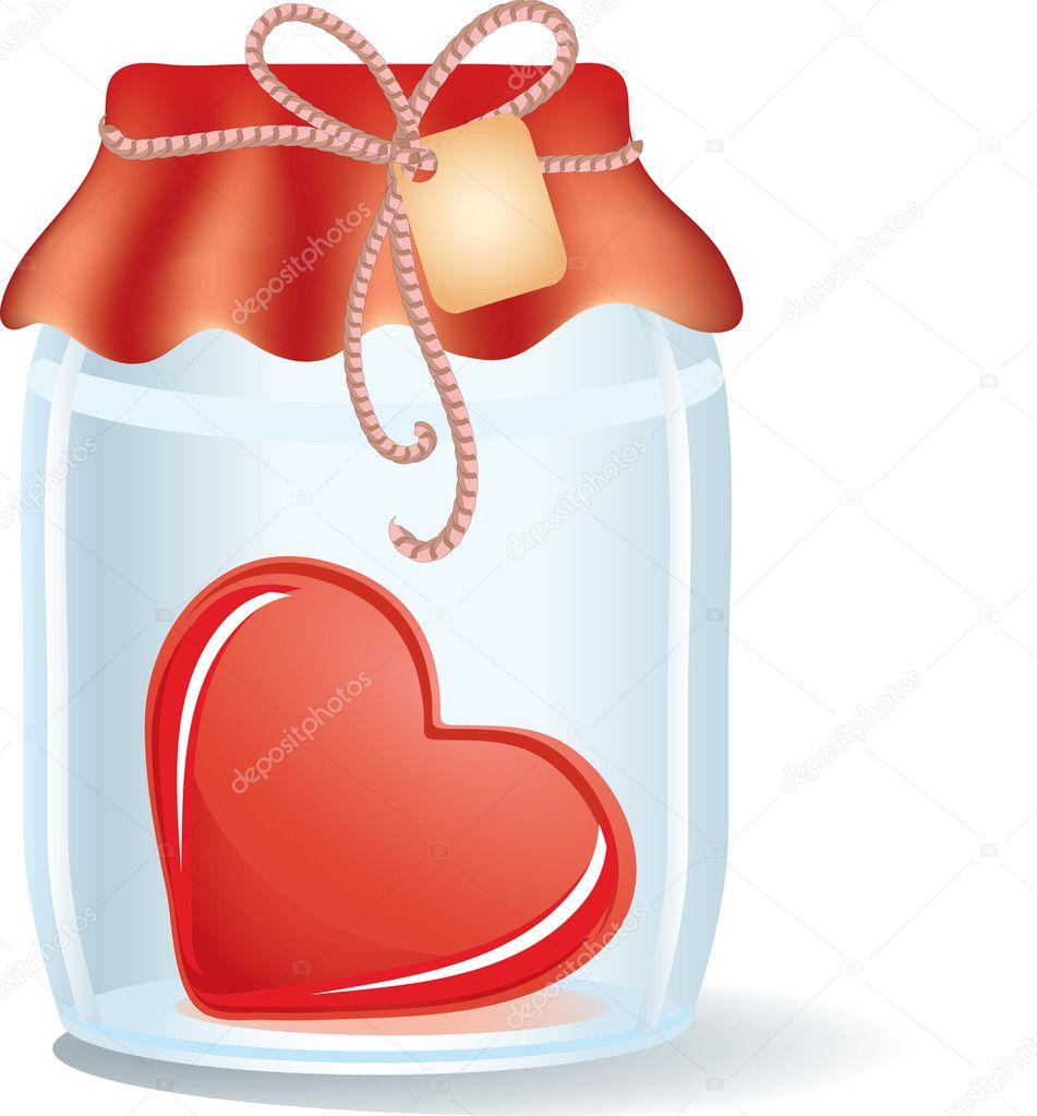 Heart in the jar with label  Stock Vector #1842268