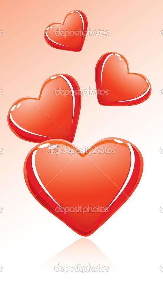 Red glossy valentine's hearts. Vector illustration  Stock Vector #1842283