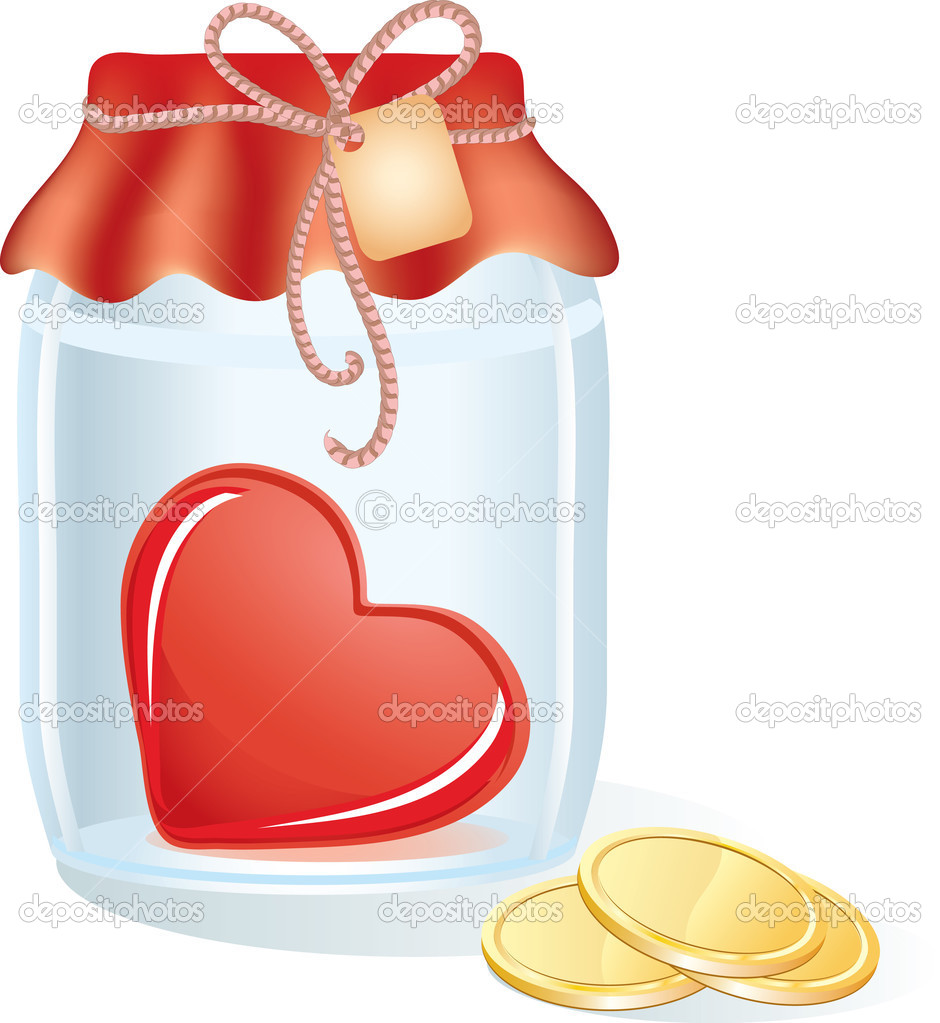 Heart in the jar with gold coins and label — Stock Vector #1842286