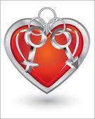 Silver trinket souvenir with heart — Stock Vector