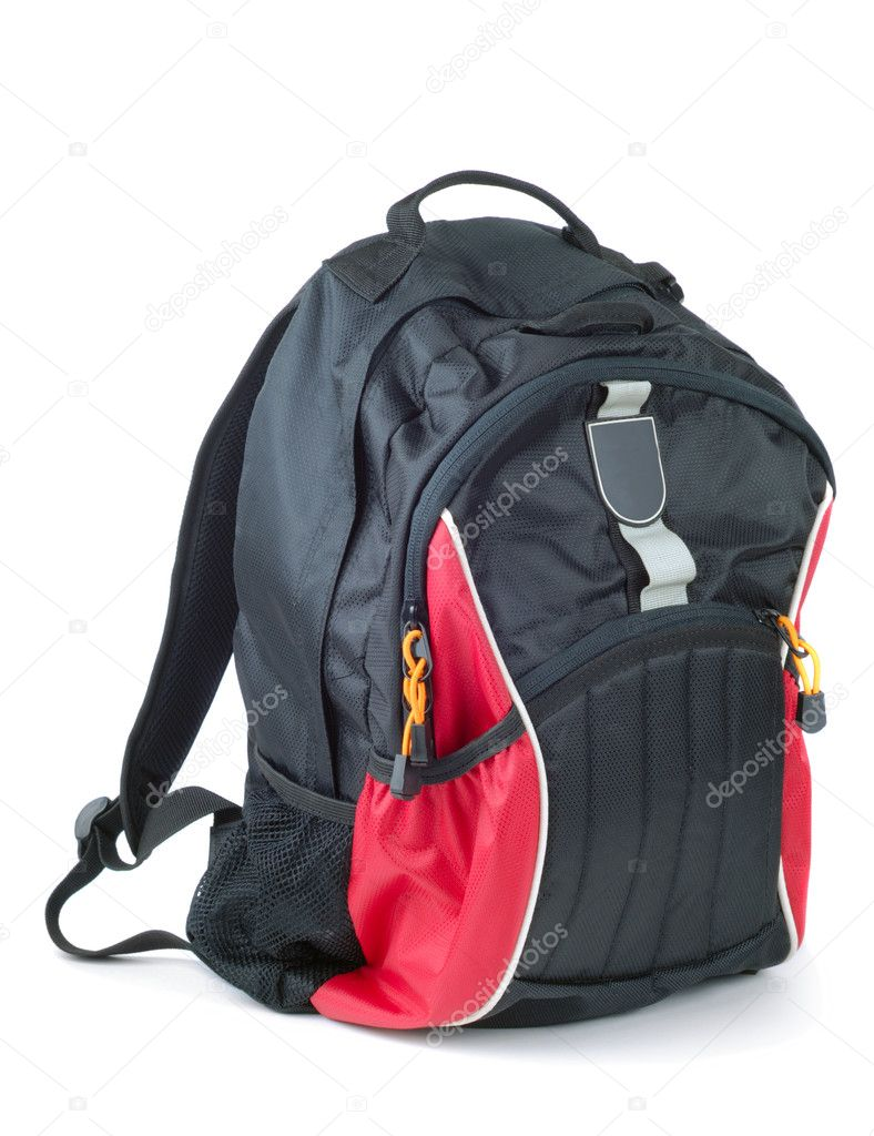 Style black with red colored backpack isolated over white background — Stock Photo #1706223