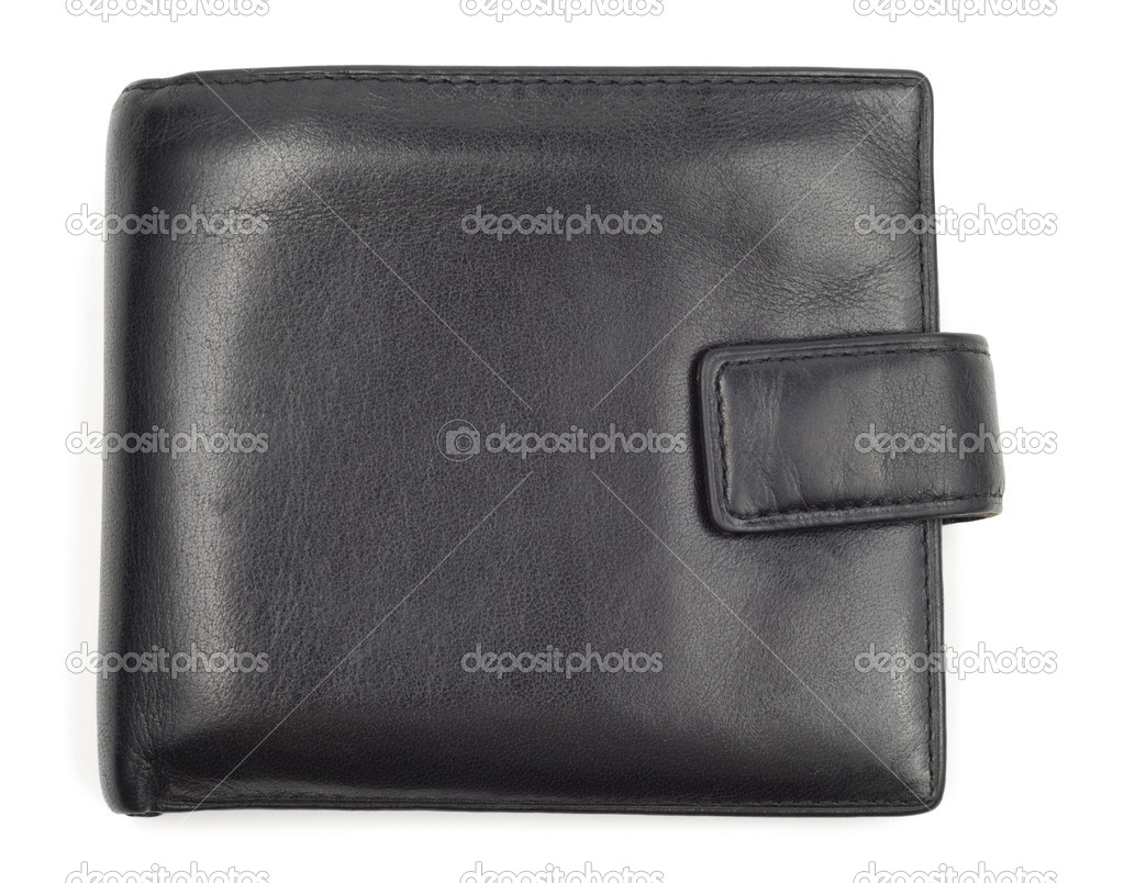 Black leather worn wallet isolated over white background — Stock Photo #1754333