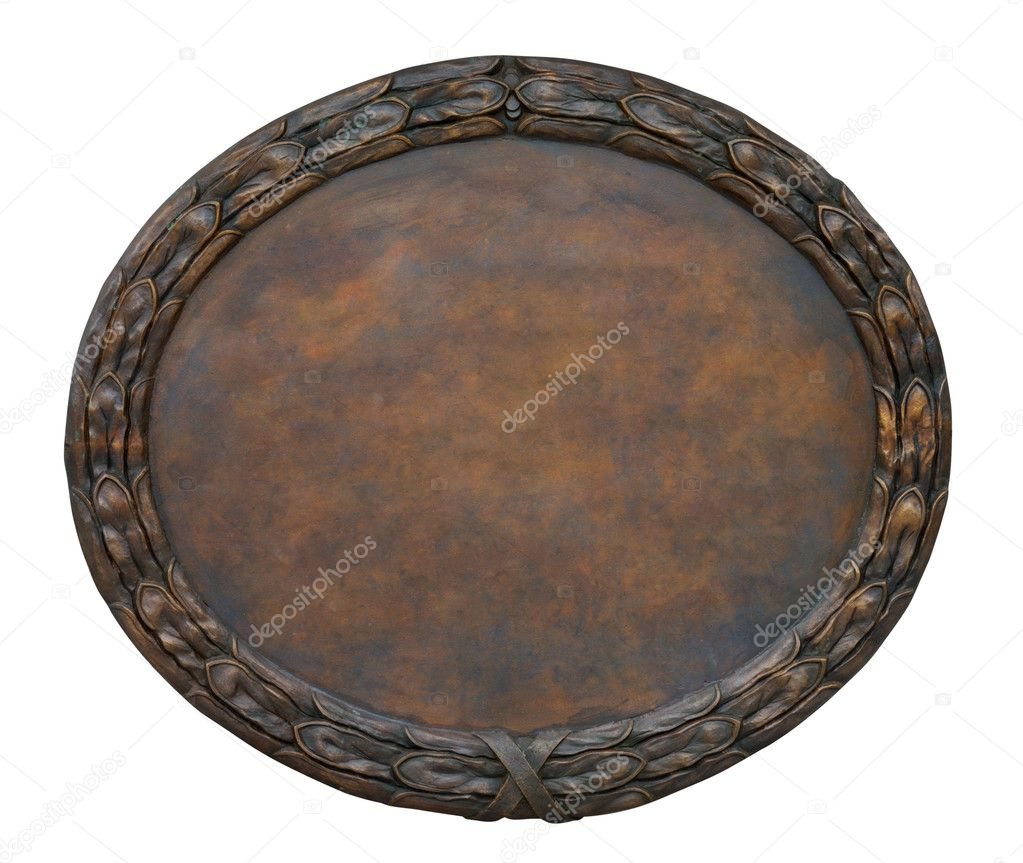 Brass brown ornate plate framed background texture — Stock Photo #2251110
