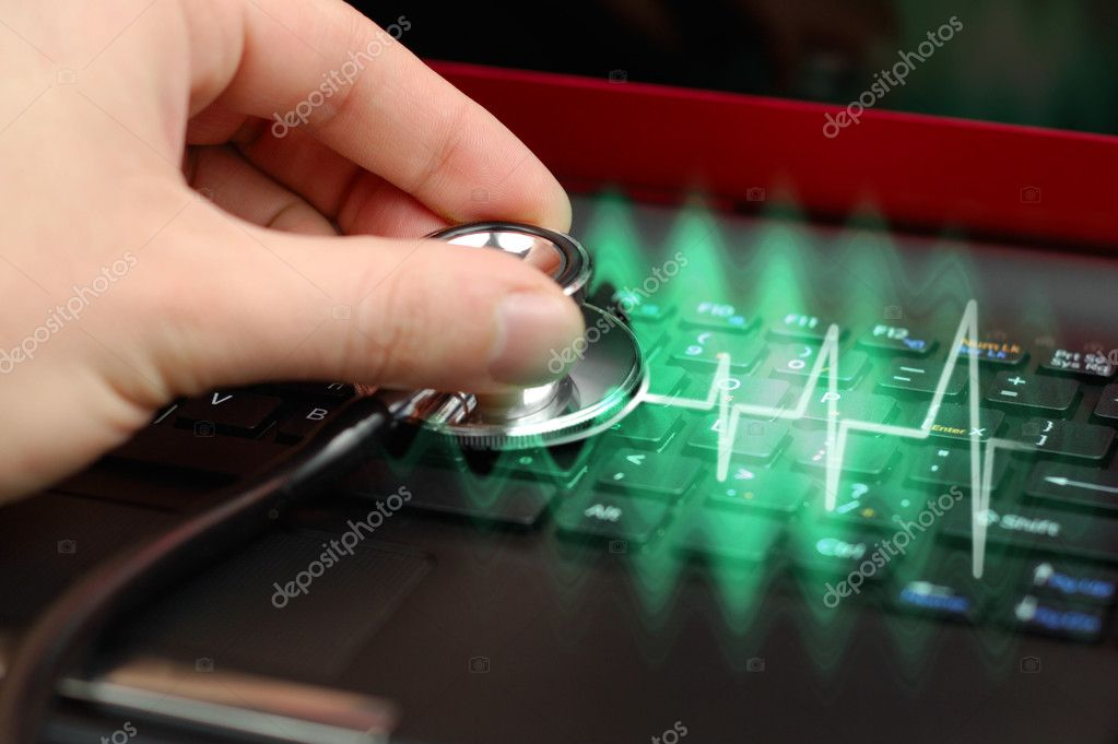 Male hand with stethoscope over black keyboard of laptop — Stock Photo #2251121