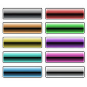 Motley glitter metal rectangular button — Stock Photo