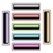 Motley glitter metal rectangular button — 图库照片