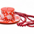 Stock Photo: Red decorative candle isolated
