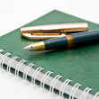 The green pen and notebook — Stock Photo