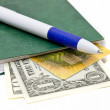 Pen and some dollars banknotes — Stock Photo