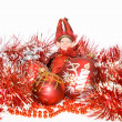 New-year red balls and elf — Stock Photo #1604471