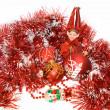 Christmas red balls, elf and snow man — Stock Photo