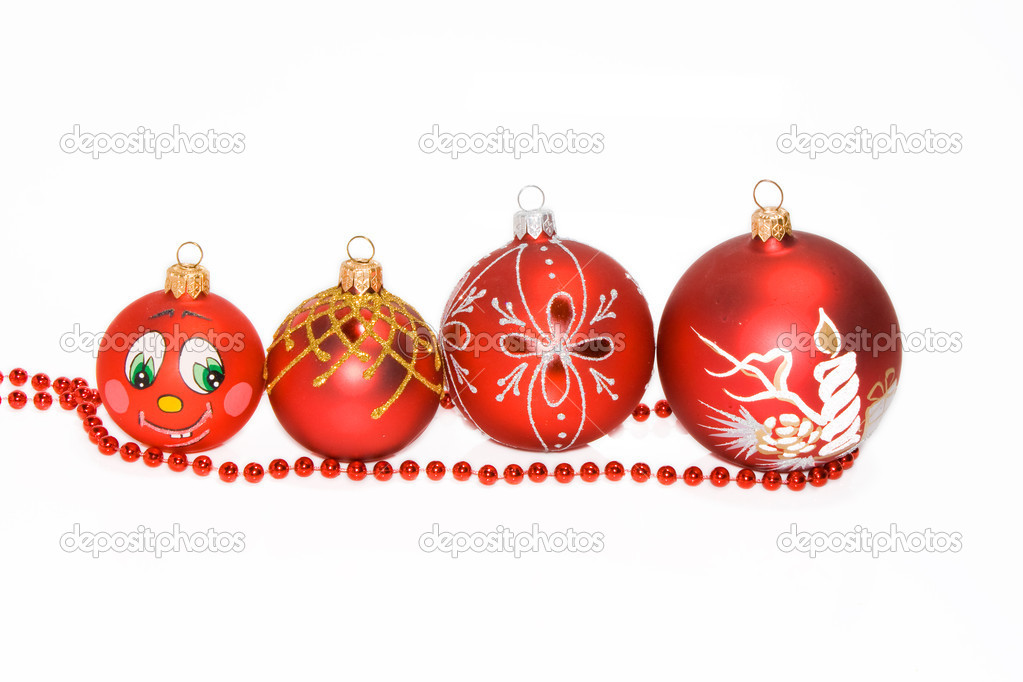 Christmas tree decorations on a white background — Stock Photo #1604596