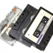 Old audio tapes on white background — Stock Photo