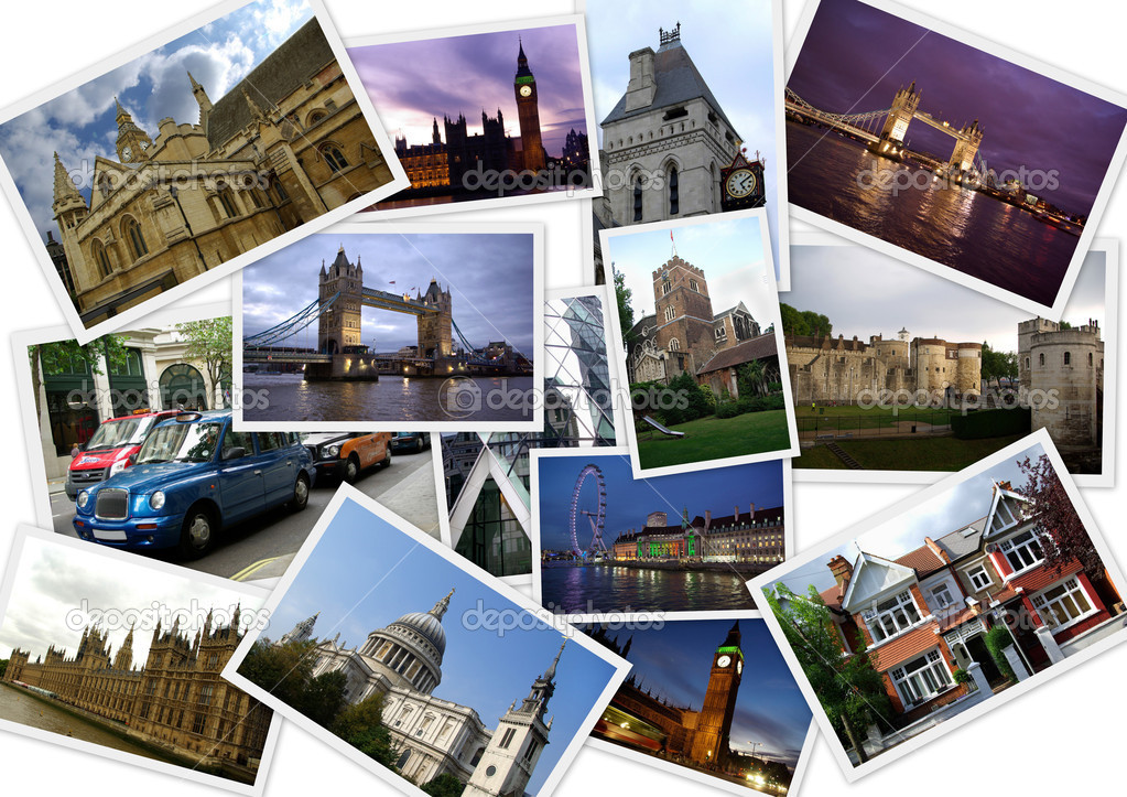 Famous places of London in collage with several shots on white background  Photo #2206629