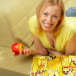 The attractive girl & red apple — Stock Photo