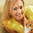 The girl with a kitten — Stock Photo #1625715