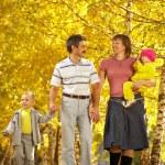 Family on walk — Stock Photo