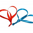 Two hearts made of ribbons — Stock Photo